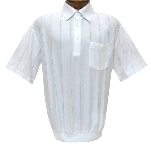 Men's LD Sport/Classics By Palmland Short Sleeve Tone on Tone Banded Bottom Shirt #6010-39 White