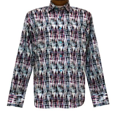Men's Luchiano Visconti Signature Collection Abstract Print Long Sleeve 100% Cotton Sport Shirt #4442 Multi