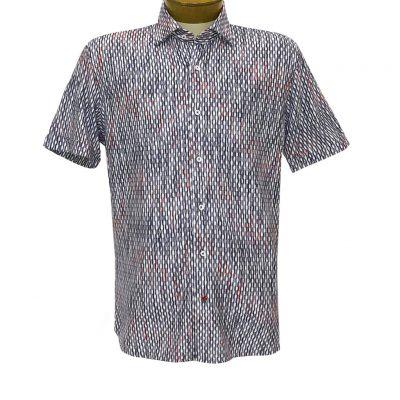 Mens-Luchiano-Visconti-Signature-Collection-Knit-Short-Sleeve-Fancy-Sport-Shirt-#4473-Navy-Multi