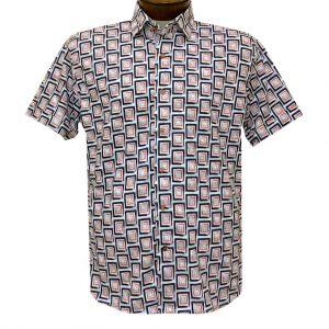 Men's Luchiano Visconti Signature Collection Knit Short Sleeve Fancy Sport Shirt, #4474 Lt. Grey Multi