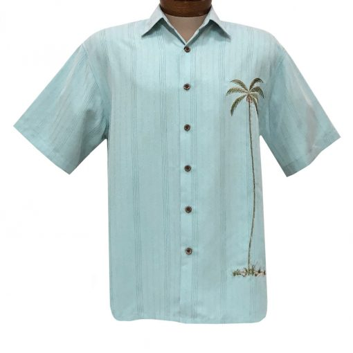 Men's Bamboo Cay Short Sleeve Embroidered Shirt, Single Palm Island #WB1003T Aqua Marine