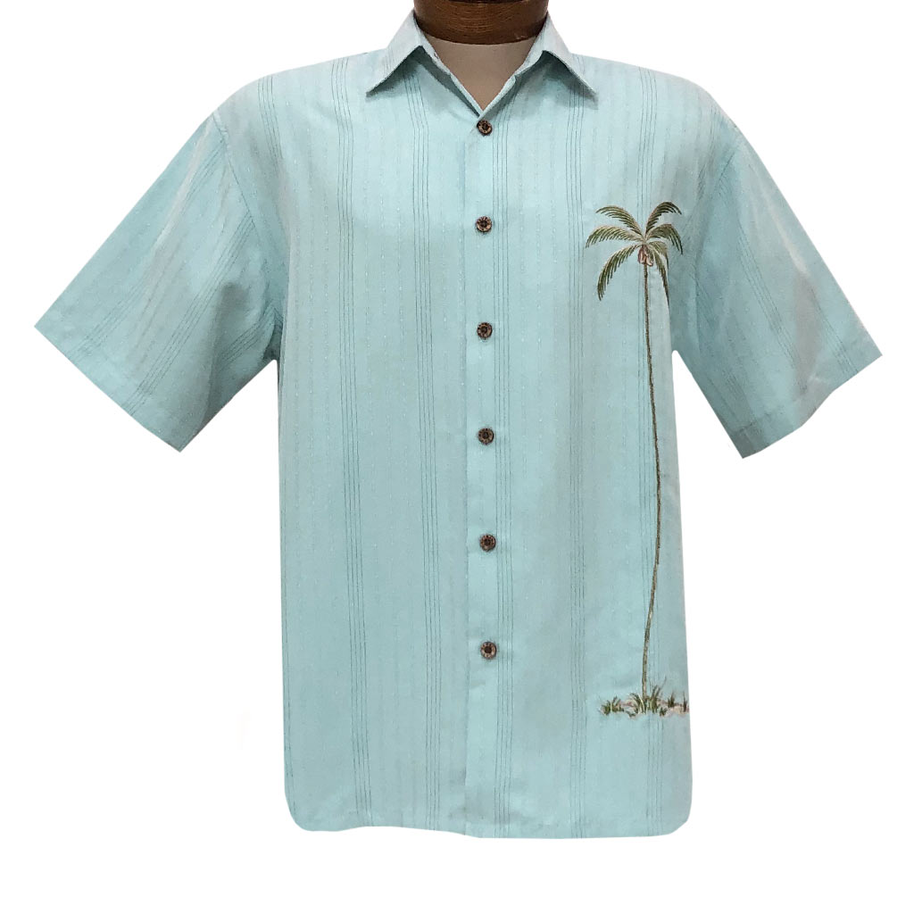 Men's Bamboo Cay Short Sleeve Embroidered Shirt, Single Palm Island #WB1003T Aqua Marine