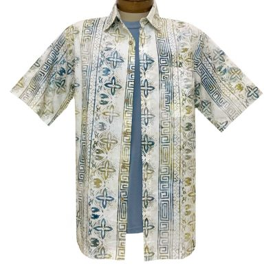 Men's Basic Options Batik Short Sleeve Cotton Shirt, Native Stripe #62044-1 White/Olive