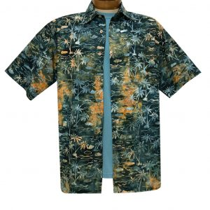 Men's Basic Options Batik Short Sleeve Cotton Shirt, Palm Tropical #62146-4 Burnt Orange/Green