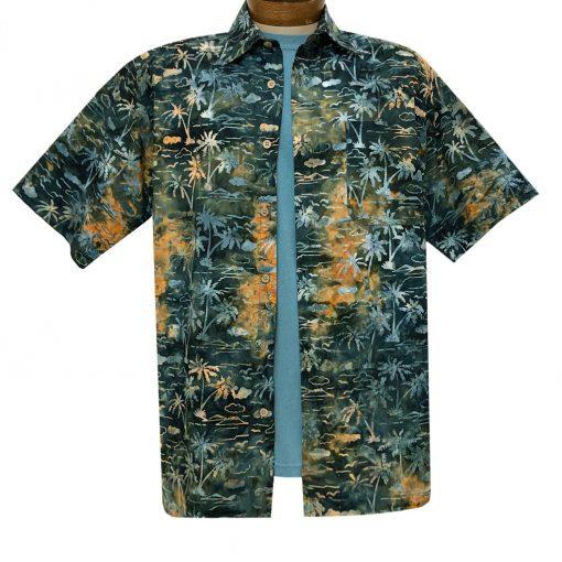 Men's Basic Options Batik Short Sleeve Cotton Shirt, Palm Tropical #62146-4 Burnt Orange/Green
