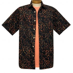 Men's Basic Options Batik Short Sleeve Cotton Shirt, Script Pattern #62141-1 Black (M & L, ONLY!)
