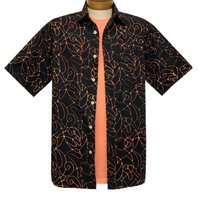 Men's Basic Options Batik Short Sleeve Cotton Shirt, Script Pattern #62141-1 Black