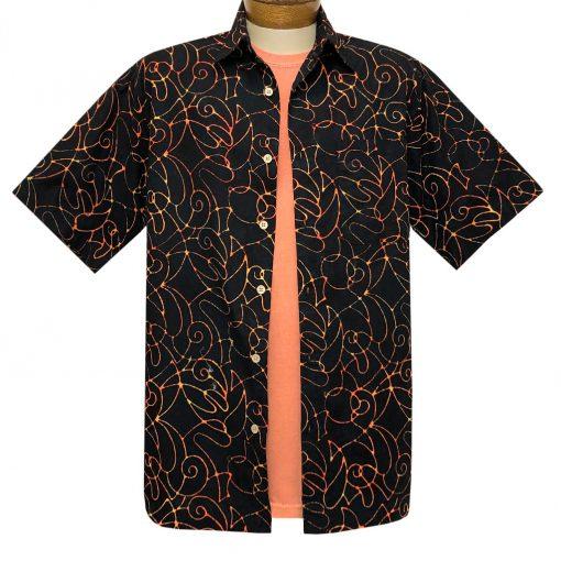 Men's Basic Options Batik Short Sleeve Cotton Shirt, Script Pattern #62141-1 Black