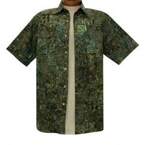 Men's Basic Options Batik Short Sleeve Cotton Shirt, Squares #62142-4 Green Multi