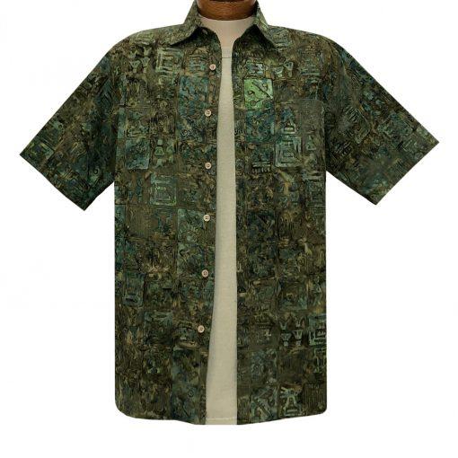 Men's Basic Options Batik Short Sleeve Cotton Shirt, Squares #62142-4 Green Multi