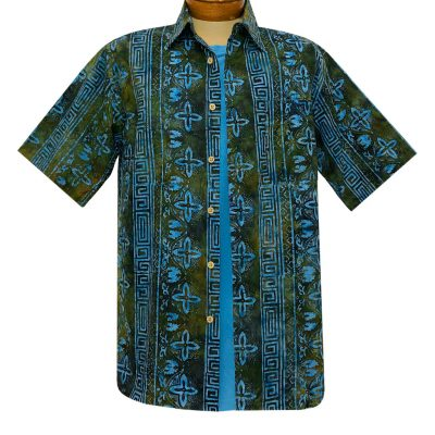 Men's Basic Options Batik Short Sleeve Cotton Shirt, Tropical Stripe #62147-3 Bright Blue