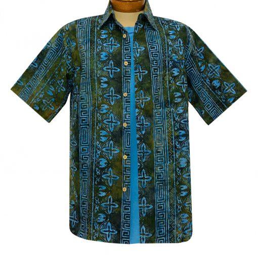 Men's Basic Options Batik Short Sleeve Cotton Shirt, Tropical Stripe #62147-3 Bright Blue