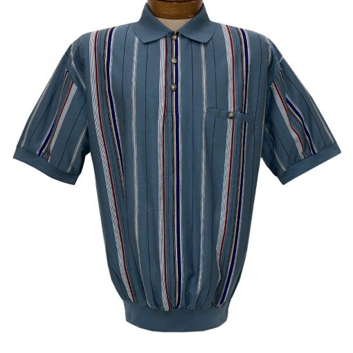 Men's Classics By Palmland Short Sleeve Vertical Stripe Knit Banded Bottom Shirt #6090-V1 Blue