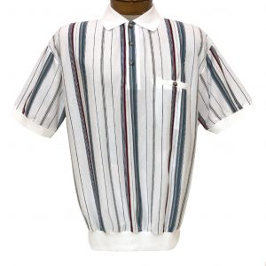 Men's Classics By Palmland Short Sleeve Vertical Stripe Knit Banded Bottom Shirt #6090-V1 White