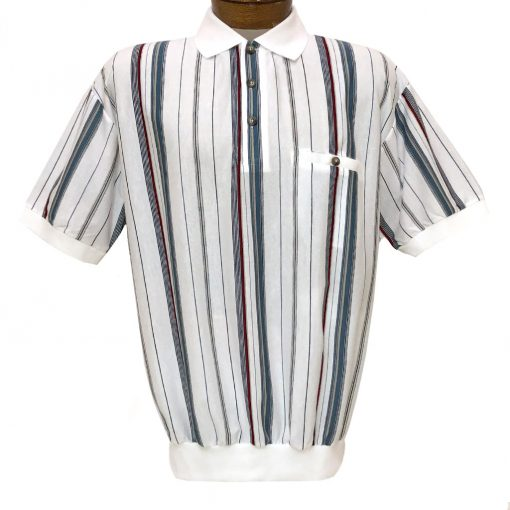 Men's Classics By Palmland Short Sleeve Vertical Stripe Knit Banded Bottom Shirt #6090-V1 White