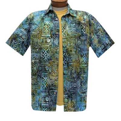 Men's Basic Options Batik Short Sleeve Cotton Shirt, Island Tribal #62048-4 Olive Multi
