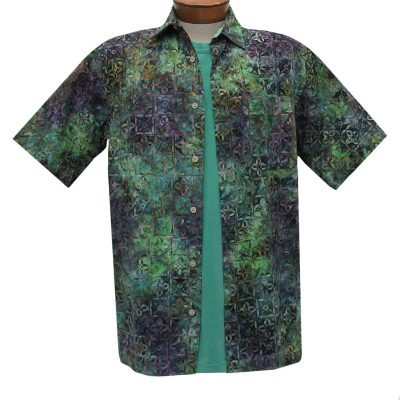 Men's Basic Options Batik Short Sleeve Cotton Shirt, Kaleidoscope #62940-4 Green