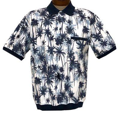 Men's Classics By Palmland Short Sleeve Polo Knit Banded Bottom Shirt #6190-325 Navy