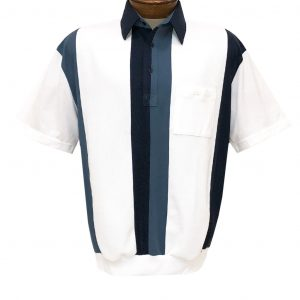Men's Classics By Palmland Short Sleeve Vertical Pieced Knit Banded Bottom Shirt #6010-121 Navy (M, ONLY!)