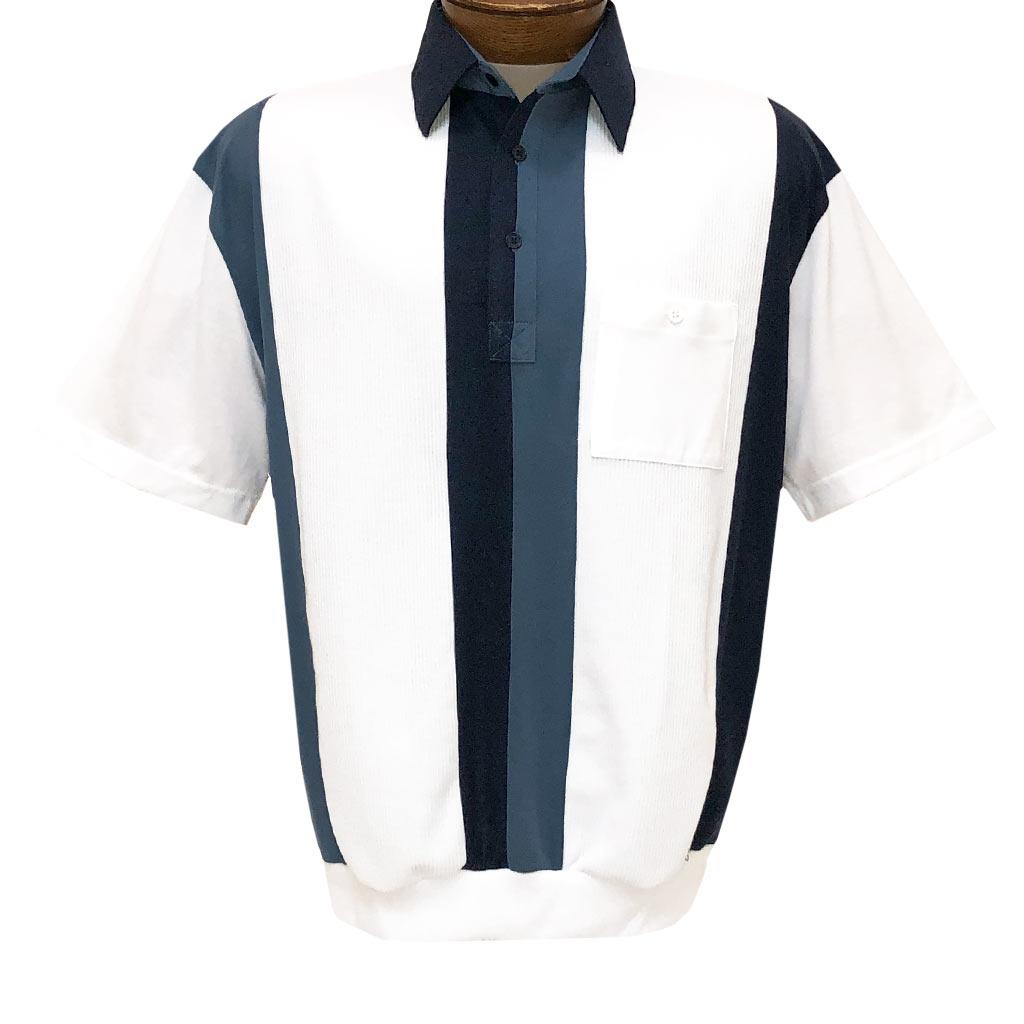Men's Classics By Palmland Short Sleeve Vertical Pieced Knit Banded Bottom Shirt #6010-121 Navy