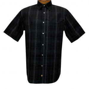 Men's F/X Fusion Short Sleeve Fine Line Grid Button Front Sport Shirt #D1420 Black