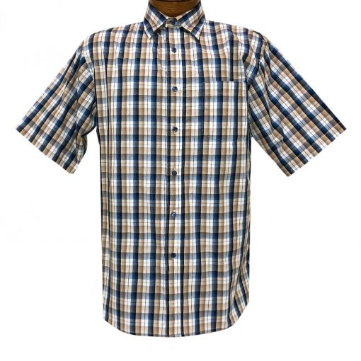 Men's F/X Fusion Short Sleeve Multi Check Button Front Sport Shirt #D1423 Tan/Navy