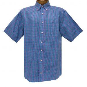 Men's F/X Fusion Short Sleeve Multi Check Button Front Sport Shirt #D1435 Royal