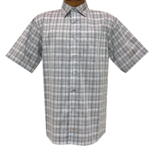 Men's F/X Fusion Short Sleeve Stacked Lines Button Front Sport Shirt #D1421 Grey