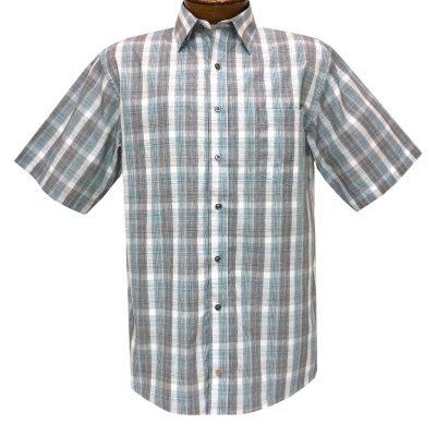 Men's F/X Fusion Short Sleeve Textured Overplaid Button Front Sport Shirt #D1434 Teal