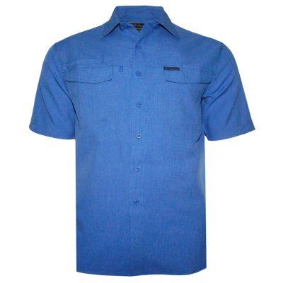 Men's Weekender Short Sleeve Sun Protection Travel Shirt, Globe Trotter #M03115S Blue