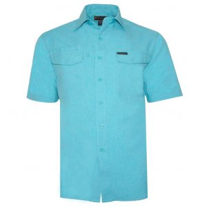 Men's Weekender Short Sleeve Sun Protection Travel Shirt, Globe Trotter #M03115S Turquoise (M & XXL, ONLY!)