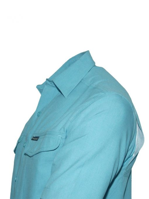 Men's Weekender Short Sleeve Sun Protection Travel Shirt, Globe Trotter #M03115S Turquoise