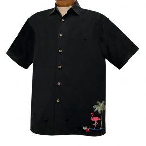 Men's Bamboo Cay Short Sleeve Embroidered Aloha Shirt, Flamingo Island #WB2101 Black