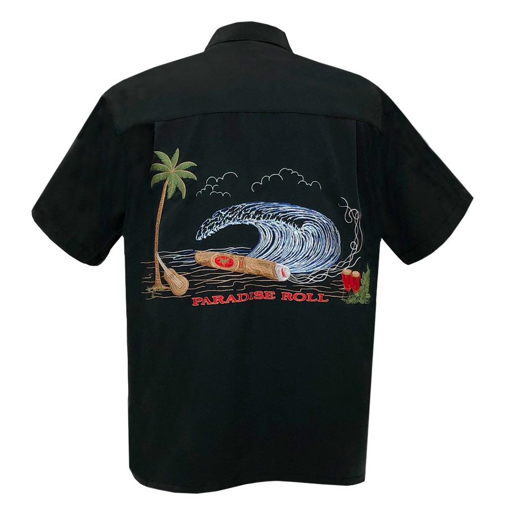 Men's Bamboo Cay Short Sleeve Embroidered Aloha Shirt, Paradise Roll #WB1954RE Black