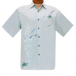 Men's Bamboo Cay Short Sleeve Embroidered Aloha Shirt, Turtles On The Loose #WB2103 Chalk Blue