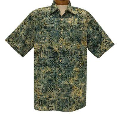 Men's Basic Options Batik Short Sleeve Cotton Shirt #62053-9 Sage