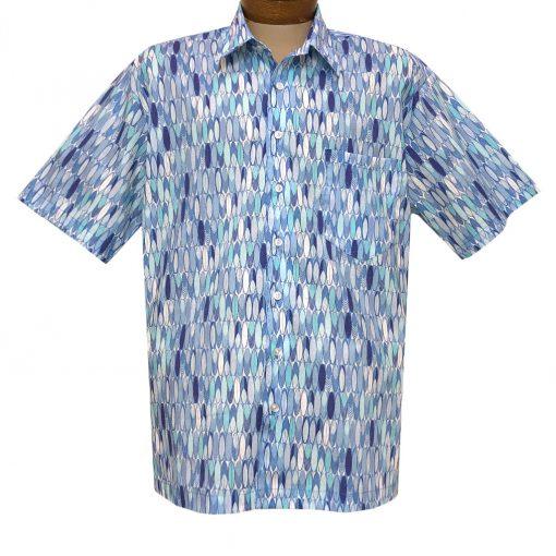 Men's F/X Fusion Short Sleeve 100% Cotton Square Bottom Button Front Sport Shirt, Surf Block #FW1467 Blue