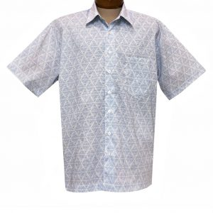 Men's F/X Fusion Short Sleeve 100% Soft Cotton Square Bottom Button Front Sport Shirt, #FW1457 Light Blue