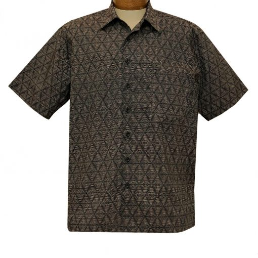 Men's F/X Fusion Short Sleeve 100% Cotton Square Bottom Button Front Sport Shirt, Triangle Lines #FW1458 Black