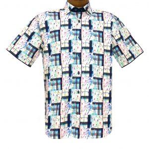 Men's Luchiano Visconti Signature Collection Geometric Short Sleeve Cotton Sport Shirt, #42141 Navy/White Multi