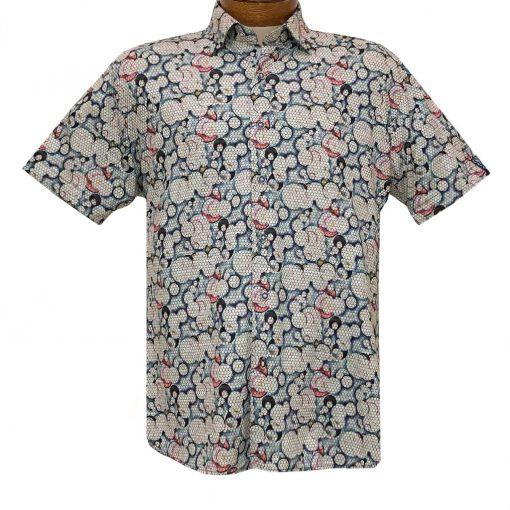 Men's Luchiano Visconti Signature Collection Knit Short Sleeve Fancy Sport Shirt, #42116 Grey Multi