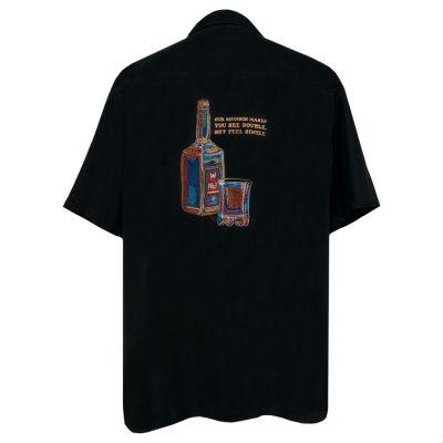 Men's Weekender Short Sleeve Embroidered Aloha Shirt, Bourbon Barrel #M031516 Black