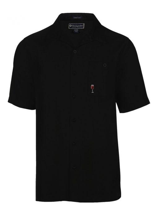 Men's Weekender Short Sleeve Embroidered Aloha Shirt, Life Is A Cabernet #M031494 Black