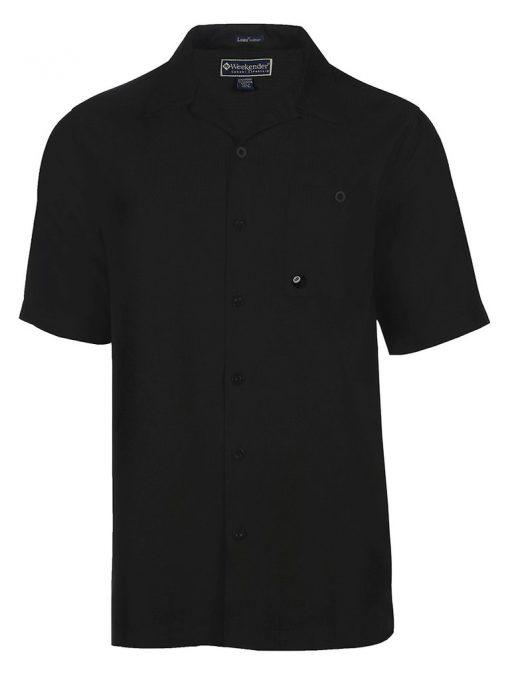 Men's Weekender Short Sleeve Embroidered Aloha Shirt, Stroke It #M031492 Black
