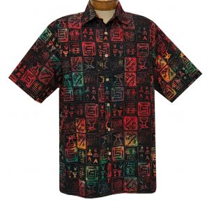 Men's Basic Options Batik Short Sleeve Cotton Shirt #62142-1 Black Multi (L, ONLY!)