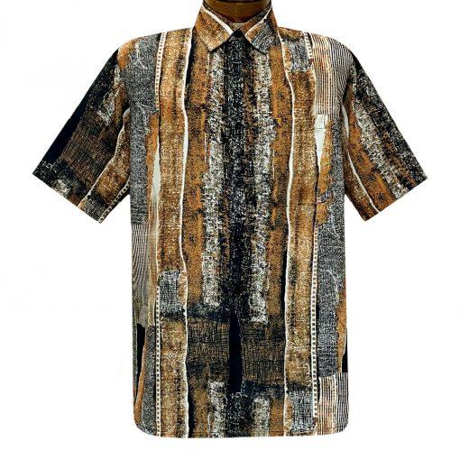 Men's Bassiri Short Sleeve Button Front Sport Shirt With A Chest Pocket #49831 Rust Multi