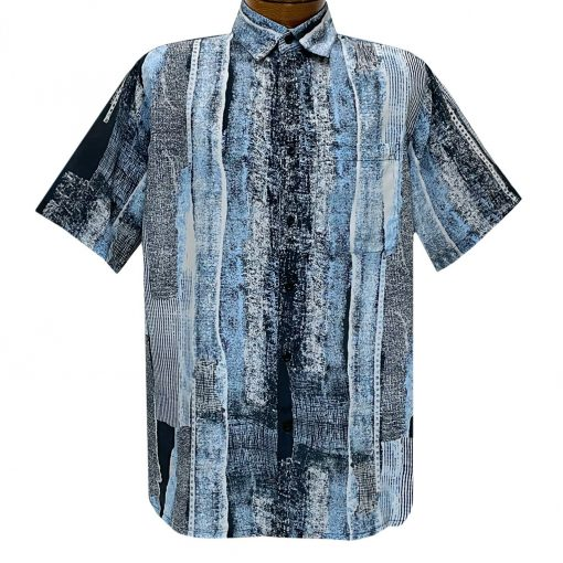 Men's Bassiri Short Sleeve Button Front Sport Shirt With A Chest Pocket #49841 Blue Multi