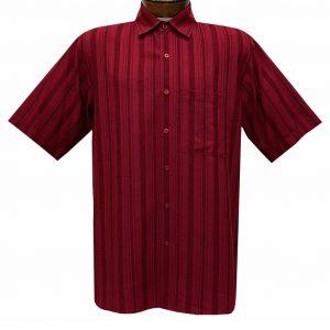Men's Bassiri Short Sleeve Button Front Vertical Textured Sport Shirt With A Chest Pocket #61131 Red
