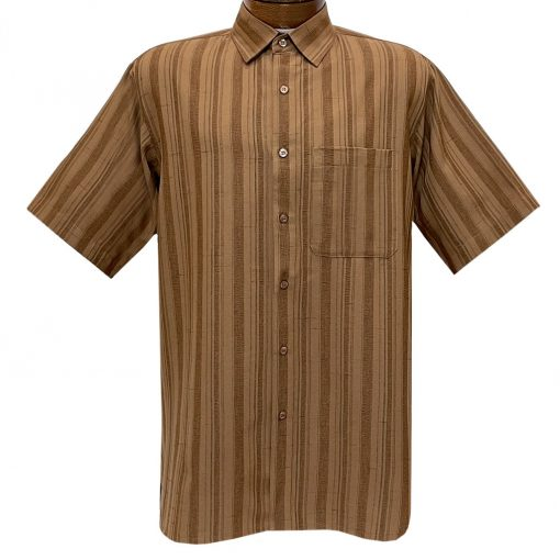 Men's Bassiri Short Sleeve Button Front Vertical Textured Sport Shirt With A Chest Pocket #61141 Coffee