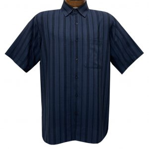 Men's Bassiri Short Sleeve Button Front Vertical Textured Sport Shirt With A Chest Pocket #61161 Navy